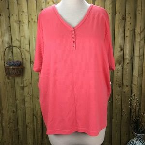NWT Fashion Bug Coral V-Neck T-Shirt 30/32
